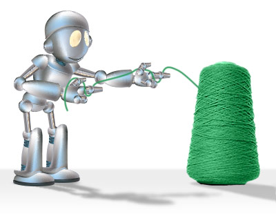 robot with green yarn