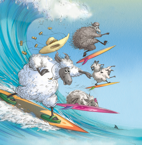 surfer sheep
